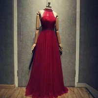Wholesale Real Beaded Evening Dress - 2017 New Arrival Classy A-Line Prom Party Dresses Beaded Halter Burgundy Long Evening Formal Gowns Real Pictures Factory Wholesale