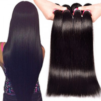 Wholesale 14 straight hair - 8A Brazilian Virgin Hair Body Wave Straight g pc Unprocessed Brazilian Human Hair Weaves Bundles Natural Black Dark Brown Color Available