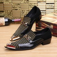 Wholesale Business Dress Tips - 2017 Hot Sell Men Dress Shoes Leather Gentleman Party Business Suit Shoes Metal Tip Crystal Wedding Party Shoes