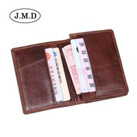 Wholesale Wholesale Cowhide Pillows - 10pcs lot J.M.D Hot Sale Genuine Leather Unisex men's Card Holder Wallets High Quality Female Credit Pillow Card holder with coin Purse 8078