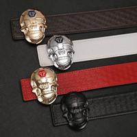 Wholesale Skull Silver Belt Buckle - 2018 Hot NEW fashion skull buck buckle belts for men genuine leather brand luxury belt designer F belts Men high quality belt free shipping
