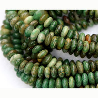 "Wholesale Green Jade Loose - Wholesale- Discount Wholesale Natural Genuine Africa Green Jade Rondelle Loose Stone Beads Fit Jewelry DIY Necklaces or Bracelets 15"" 033"