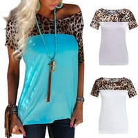 Wholesale Short Leopard Print Necklace - Women Fashion Leopard Grain Print Splicing T-shirt Casual Spring Summer Short Sleeve Blouse Top (Without Necklace)