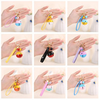 Wholesale car two color resale online - Brand new New two color bells creative gifts DIY key chain PU leather rope car bags pendant KR247 Keychains mix order pieces a