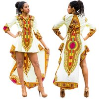 Wholesale Casual Folk Style Dresses - African Dress New Arrival African Clothing Traditional 2017 New Folk Style Batik Cotton Short Sleeved Dress Printing Pharaoh