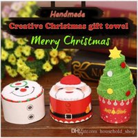 Wholesale Disposable Hair Towels - 2017 Christmas Gift Towel 30x30cm Christmas Tree Santa Claus Christmas Snowman White Green Red 5pcs Each Bag