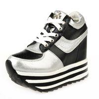 Wholesale Sneakers Shoes High Platforms - Women Spring Summer 12cm High Heeled Wedge Sneakers Mesh Breathable Korean Female Platform Tide Height Increasing Shoes 35-39