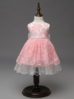 Wholesale White Knee Length Frocks - high quality Unique baby frock design pink color net baby girl wedding dress kids clothing wholesale