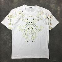 Wholesale Cotton Flower Shirt - 2017 summer New Fashion Brand Lilac flower petals white print short sleeves T Shirt MenTee O-Neck Casual Men T-Shirt Cotton T Shirts