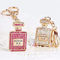 Wholesale Perfume Gift Bags - 1Pc White Pink Rhinestone Crystal Perfume Bottle Key Ring Keychain Purse Bag For Girls Handbag Charm Pendant Key Chain Gifts