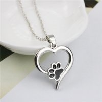 Wholesale Wholesale Tins For Dogs - Women Cute Necklace Heart Black Dog Paw Pendant Necklaces Silver Plated For Girls Party Short Necklaces
