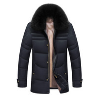Wholesale Man Coat Fox - Wholesale- 2016 Winter Jacket Men Solid High Quality Jackets Mens White Duck Down Coat Parkas With Real Fox Fur Hood