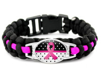 Wholesale Pink Paracord Bracelets - wholesale 300pcs new 7 styles Pink Breast Cancer Fighter Hope Ribbon Awareness Paracord Bracelets Blue Yellow Black Outdoor Camping