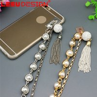 New Metal Rope Plating Tassel luxe Pearl Chain Lanyard strap Pour iPhone 6 s 6s plus Fashion Phone Cases Girls