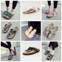 Wholesale Woman Flips Flops Sandals Wholesale - Flip Flops Summer Cork Slipper Woman Flats Sandals Antiskid Slippers Beach Shoes Casual Cool Slipper 19 Colors 2pcs pair OOA1669