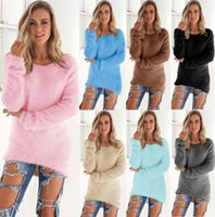 Wholesale Warm Women Loose Sweaters - DHL Free 2017 fashion loose sweaters women autumn loose tops warm solid Color sweater soft autumn long pullovers 8 colors options