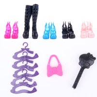 Wholesale Cheapest Hangers - Cheapest! 17items Monster Doll Accessories Suit Dress+Shoes+Hangers+bag Fashion Clothes for Monster Hight Dolls