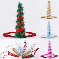 fancy geschenke taschen großhandel-Weihnachten Einhorn Horn Glitter elastisches Stirnband Baby Mädchen Thema Party Kostüm Haarband Geburtstagsgeschenk Füllsack Cosplay Stütze bunt