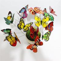 ingrosso decorazione farfalle giardino-200pcs colorato farfalla su bastoni giardino Vaso Prato Craft Art Decorazione Bella camera da letto moderna decorazione fai da te