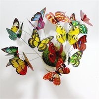 Wholesale beautiful modern bedrooms - 200pcs Colorful Butterfly On Sticks Garden Vase Lawn Craft Art Decoration Beautiful Bedroom Modern DIY Decor
