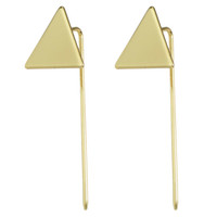 Wholesale Triangle Clip Earrings - New Designer Jewelry Punk Style Gold-Color Black Silver Color Geometric Earrings Triangle Long Stud Earrings For Women