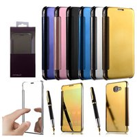 Wholesale Etui Iphone - Luxury For Samsung Galaxy S8 S8 Edge Mirror Flip Case Etui Clear View Window Smart Cover Plating Back Protection Shell IPhone 7 7PLUS