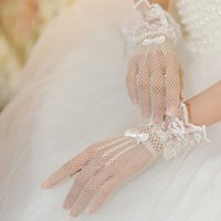 Wholesale Lace Mesh Bridal - Wholesale Cheap New Bride Lace Bride Bridal Wedding Gloves Bow Tie Mesh Accessories for for wedding formal party