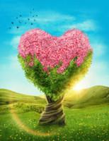 roses roses roses achat en gros de-Toiles de fond en forme de coeur avec des fleurs roses Sunshine Blue Sky Green Grassland Beau paysage de printemps Fond de mariage romantique en plein air