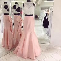 Wholesale Beautiful Deep Purple Dress - Beautiful Pearls Bodice High Neck Pink Mermaid Prom Dress for Graduation Open Back Satin Real Photo Long 2 Piece Prom Dresses