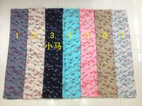 Wholesale Lightweight Fashion Scarves - Fashion Swift Horse Print Animal Scarf Women Mini Horse Shawl Wrap Animal Pattern Hijab Soft Lightweight Hijab 7 Color, Free Shipping