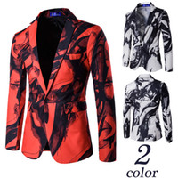 Wholesale Vintage Painted Jacket - Wholesale free shipping Mens Floral Blazer Single Button Ink Print Blazers Thin Jacket Chinese Style Ink Painting Vintage Suits Luxury Forma