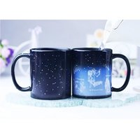 Wholesale Ceramic Water Cooler - 2017 NEW Brand New 301-400ml Fantastic Star Sign Mug 10oz Tea Coffee Juice Water Cup Cool Heat Changing Color Night Star Ceramic