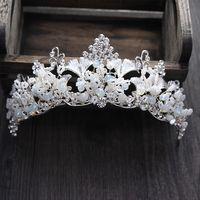 Wholesale Elegant Hair Bows - Wedding Bridal Crown Tiaras Shiny Crystal Hair Accessories Elegant Headwear Handmade Jewelry 2017 New Luxury Baroque Vintage Rhinestone