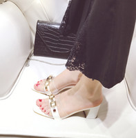 Wholesale Up Super Price - Casual woman slippers super hot metal chain glass cement factory price summer high heels slippers for ladies YonDream-279