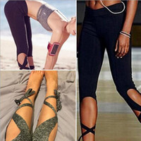 Wholesale Black Cotton Bandage Pants - 2 Colors Fashion Woman Yoga Fitness Pants GYM Dance Ballet Tie butterfly pants Wrap Bandage ActiveTight Winding Leggings CCA6532 12pcs