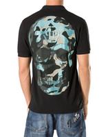 Wholesale Coton T Shirts - 2017 Cool Men Camo Skull Coton T-shirts Tee Shirts Black Design Shirt Short Sleeve Top Size M-XXXL