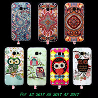 Wholesale Silicone Case Owl - Mandala Flower Owl TPU Soft Case For Samsung Galaxy S8 2017 A3 A5 A7 A320 A520 A720 Fashion Bling Glossy Bird Henna Phone Skin Cover 100pcs