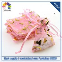 Wholesale Tulle Heart Wholesale - Wholesales 500pcs 7x9cm Pink Heart Jewelery Packaging Bags Organza Gift Wedding Candy Bags Pouches Tulle Gift Wrap Packages