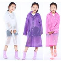 imperméable fille en polyester achat en gros de-Enfants capuche transparente veste manteaux de pluie manteau de pluie poncho couverture de manteau de pluie longue fille garçon vêtements de pluie 5 couleurs OOA3301