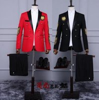 Wholesale Long Sleeve Red Formal For Men - Black red host blazer men formal dress latest coat pant designs suit men double breasted suits for men's fashionable stage