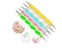 Wholesale Nail Art Dotting Pen Set - 2-way Dotting Pen Marbleizing Tool Nail Polish Paint Manicure Dot NAIL ART 5pcs in 1 set