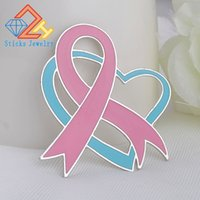 Wholesale breast cancer brooch resale online - New Design Fashionable Oil Painting Breast Cancer Consciousness Ribbon Brooch Brooch Drop Shipping