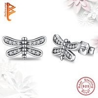 Wholesale Free Dragonfly - BELAWANG Wholesale Original 925 Sterling Silver Petite Dragonfly Stud Earrings Clear CZ Jewelry Earrings For Christmas Gift Free Shipping