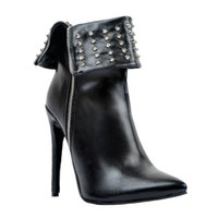 Kolnoo Womens Handmade заклепки шипы Hi Top Pointed Toe Winter High Heel Ботинки для лодыжки Stiletto Shoes Black XD237