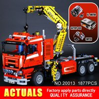 Wholesale Crane Electric - NEW LEPIN 20013 technic series 1877pcs The Electric Crane Truck Model Building blocks Bricks Compatible 8258 Toy Christmas Gift