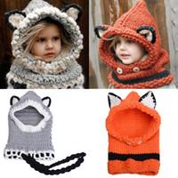 Wholesale Knit Skull Cap Girls - Cute Fox Winter Knitted Hats for Kids Trend Warm Children Beanies Shawl Cap Boys Girls Skull Scarf Caps Wool Shapka GH-140