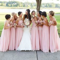Wholesale Cheap Strapless Dresses For Women - 2017 Pink Strapless Bridesmaid Dresses Chiffon Empire Long Floor Length Simple Cheap Maid Of Honor Gowns For Women Free Shipping