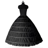 weiß plus größe petticoat großhandel-Ballkleid große Petticoats 2017 neue schwarz weiß 6 Reifen Braut Unterrock formelle Kleidung Krinoline plus Größe Hochzeit Zubehör