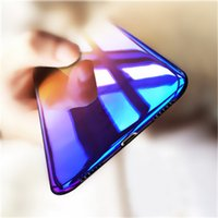 Wholesale Iphone Colours - Blue Ray Gradient Colour Plated Color Layer Hard PC Case For iPhone X 8 7 6S 6 Plus Samsung Galaxy S8 Plus S6 S7 Edge Defender Cover