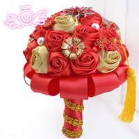 Favores Nudo Chino Baratos-Nuevo Estilo China Red Wedding Bouquets Nudo Chino Bodas Nupcial Manejo De Flores Baratos Boda Favores De La Boda